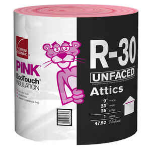 Owens Corning  Eco Touch  23 in. W x 25 ft. L R-30  Unfaced  Fiberglass  Insulation  Roll  47.92 sq.