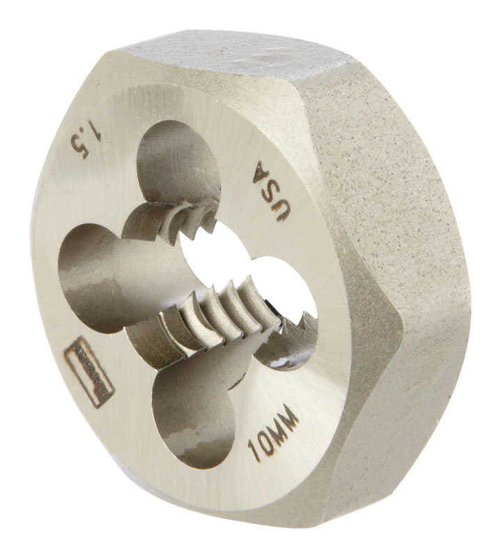 Irwin  Hanson  High Carbon Steel  Metric  Hexagon Die  10mm-1.50  1 pc.