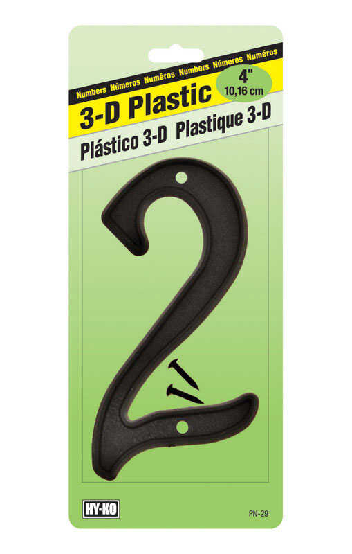 Hy-Ko  4 in. Plastic  Black  2  Number  Nail-On