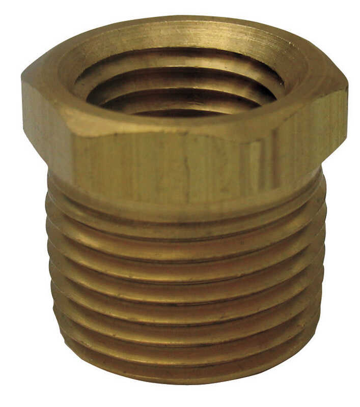 JMF  3/8 in. Dia. x 1/8 in. Dia. MPT To FPT  Yellow Brass  Hex Bushing