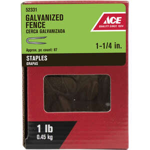 Ace  1-1/4 in. L Galvanized  Steel  Fence Staples  1 lb.