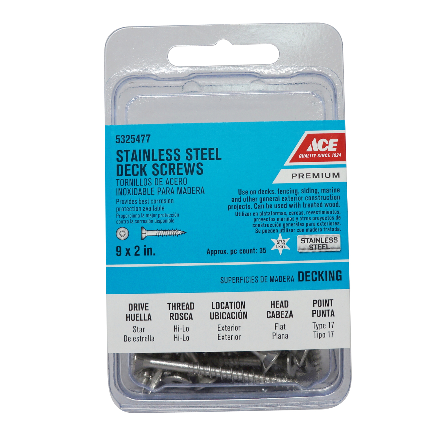 Ace  No. 9   x 2 in. L Star  Flat  Stainless Steel  Deck Screws  35 each