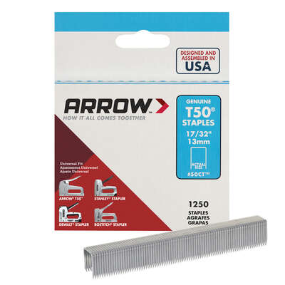Arrow Fastener  T50  3/8 in. W x 17/32 in. L 18 Ga. Flat Crown  Heavy Duty Staples  1250 pk