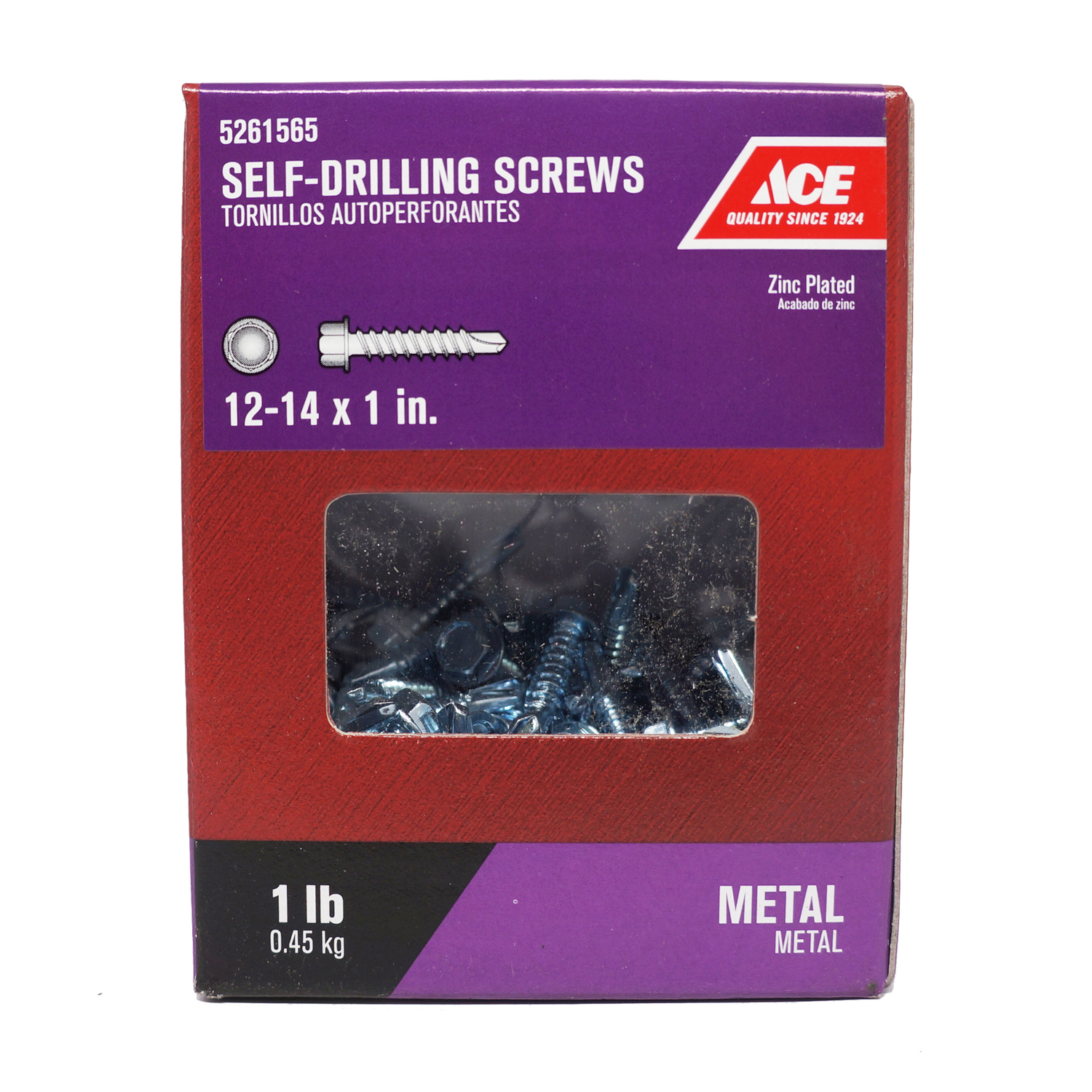 Ace  12-14 Sizes  x 1 in. L Hex Washer Head Zinc-Plated  Steel  Self- Drilling Screws  1 lb. Hex