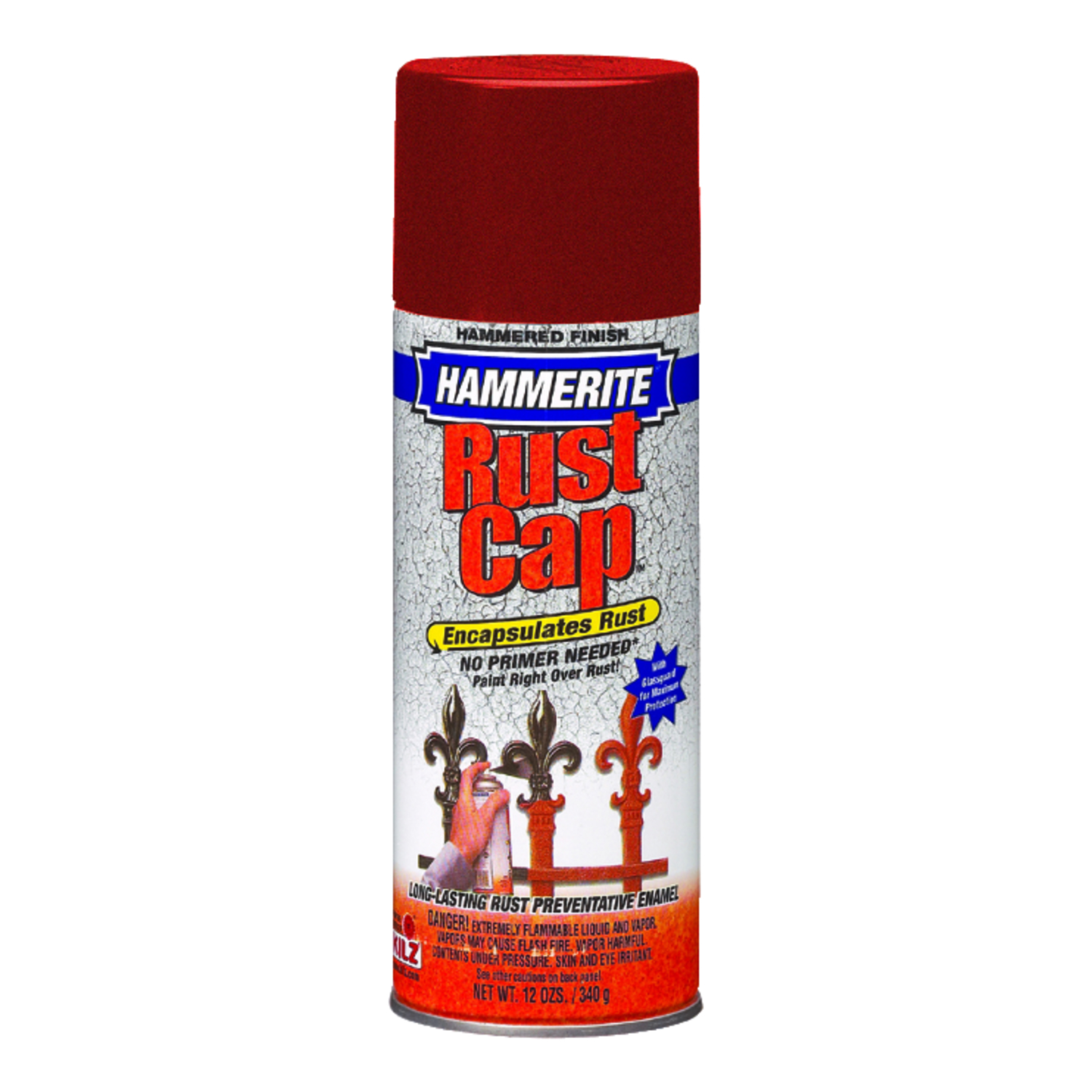 Hammerite  Rust Cap  Hammered  Hammered Enamel Finish Spray  12 oz. Red