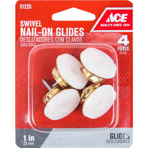 Ace  Brass/Plastic  1 in. Nail On  Swivel Glide  4  Swivel