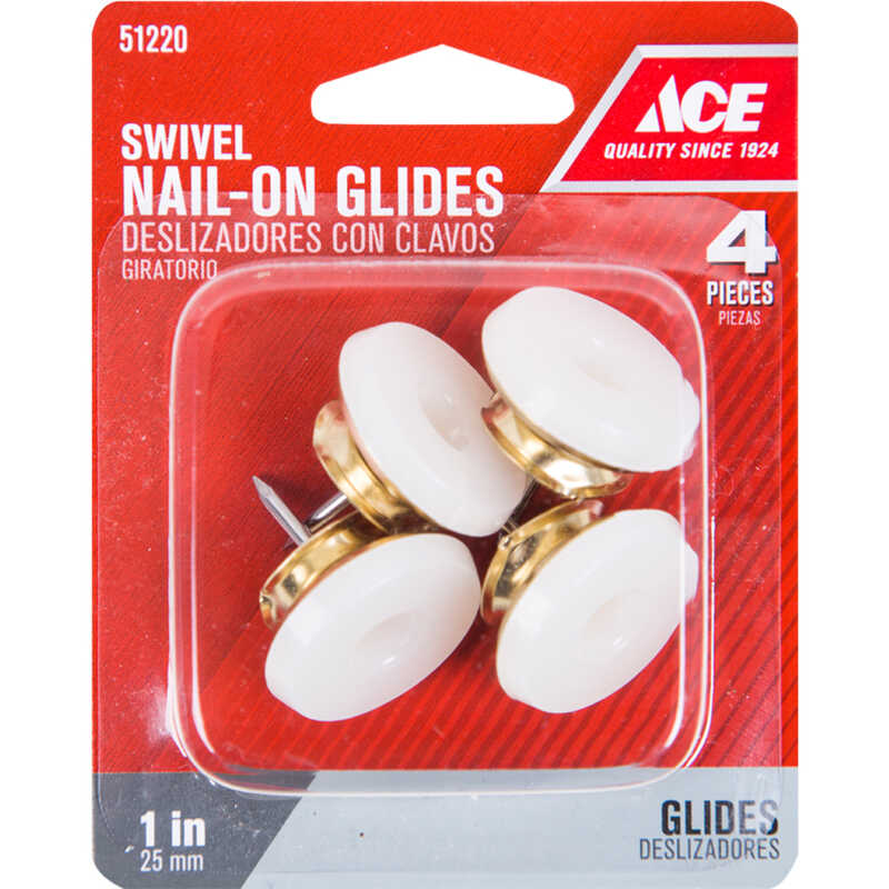 Ace  1 in. W Brass/Plastic  1 in. Nail On  Swivel Glide  4  Swivel