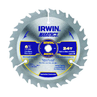 Irwin  Marathon  6-1/2 in. Dia. x 5/8 in.  Carbide  Circular Saw Blade  24 teeth 1 pk