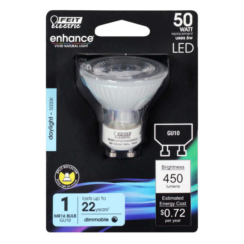 Feit Electric Enhance MR16 GU10 LED Bulb Daylight 50 Watt Equivalence 1 pk