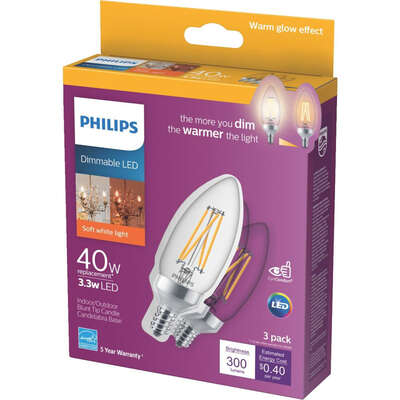 Philips  B11  E12 (Candelabra)  LED Bulb  Daylight  60 Watt Equivalence 1 pk