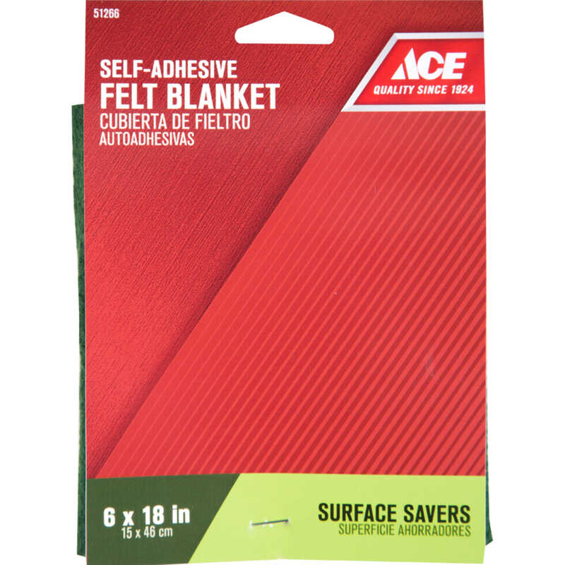 Ace  Felt  Blanket  Green  Square  6 in. W x 18 in. L Self Adhesive