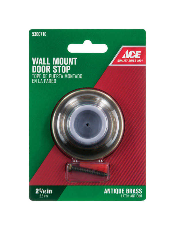 Ace  2.25 in. H x 2-5/16 in. W Solid Brass w/Rubber Stop  Gold  Antique  Wall Door Stop  Mounts to d
