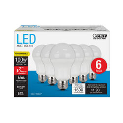 FEIT Electric  A19  E26 (Medium)  LED Bulb  Daylight  100 Watt Equivalence 6 pk