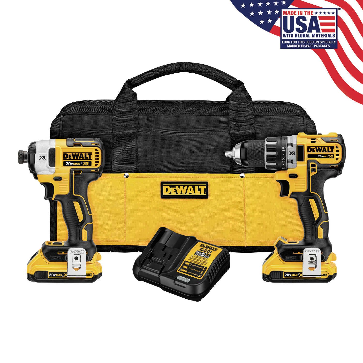 DeWalt  XR  Cordless  2 tools Compact Drill and Impact Driver Kit  20 volts Brushless