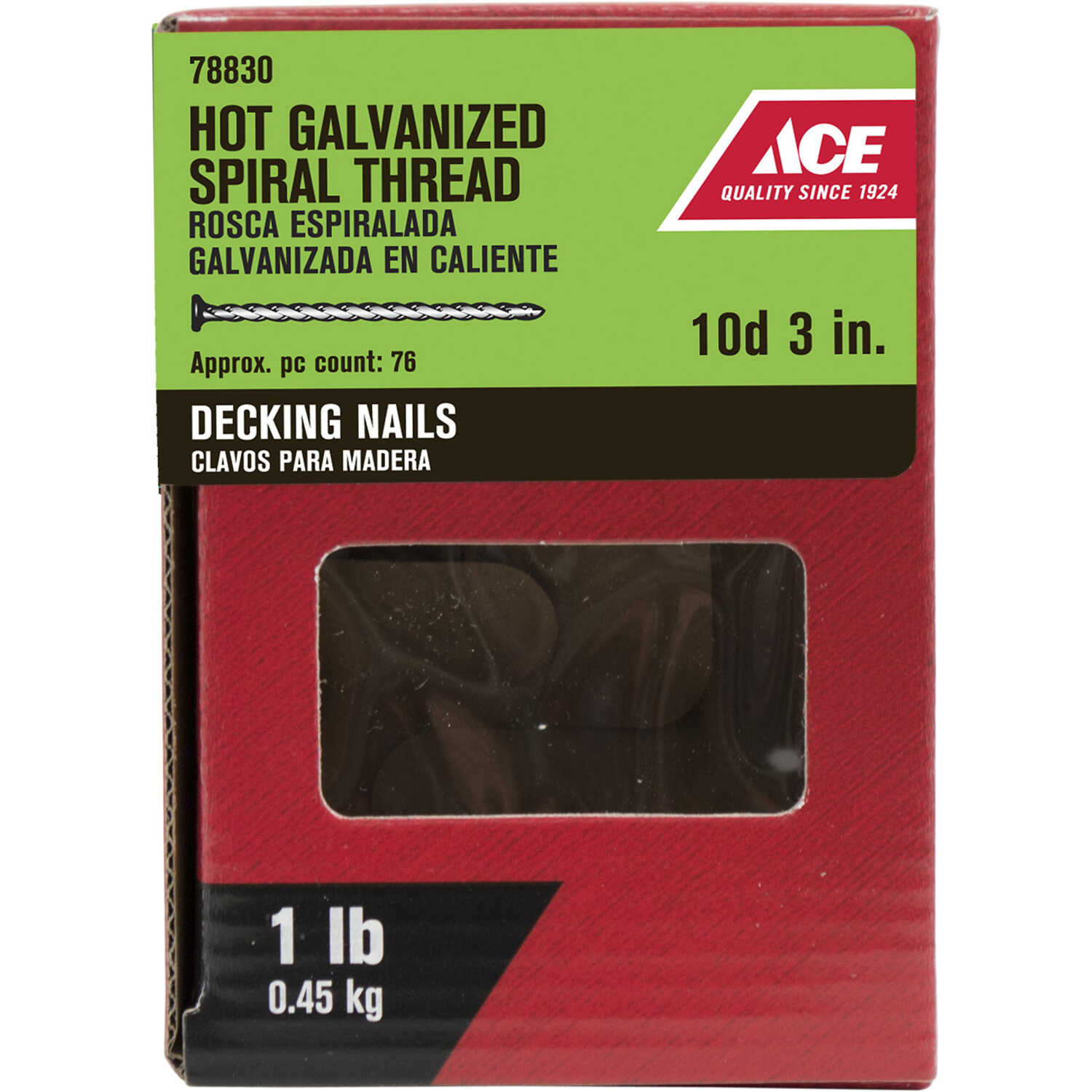 Ace  10D  3 in. L Deck  Steel  Nail  Flat Head Spiral  1 pk 1 lb.