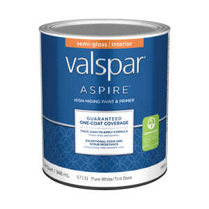 Valspar  Aspire  Semi-Gloss  Tintable  Pure White Tint Base  Acrylic Latex  1 qt. Paint and Primer