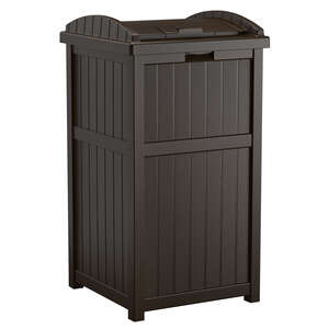 Suncast  Trash Hideaway  30 gal. Resin Wicker  Garbage Can