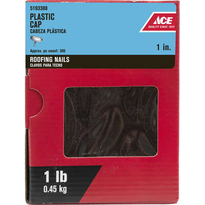 Ace  1 in. Cap  Galvanized  Plastic/Steel  Nail  Flat  1 lb.