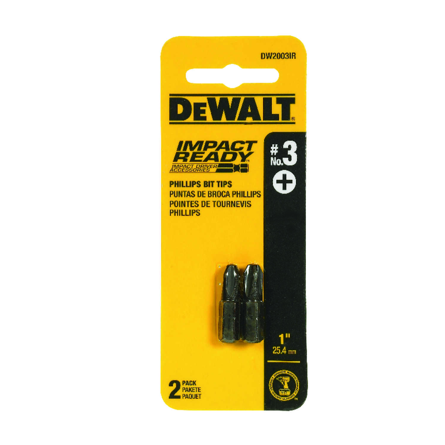 DeWalt  Impact Ready  Phillips  #3 in.  x 1 in. L Screwdriver Bit  Black Oxide  1/4 in. 2 pc.