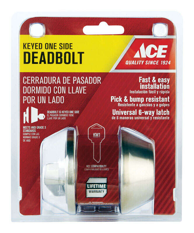 Ace  Brushed Chrome  Stainless Steel  Single Cylinder Deadbolt