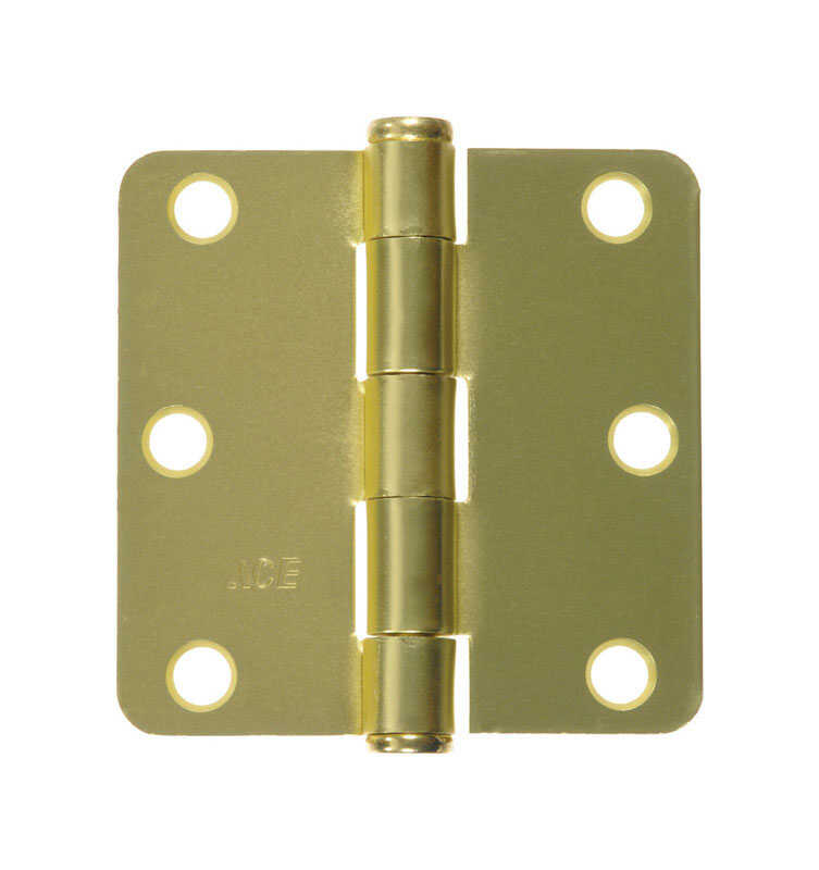 Ace  3 in. L Satin Brass  Brass  Residential Door Hinge  2 pk