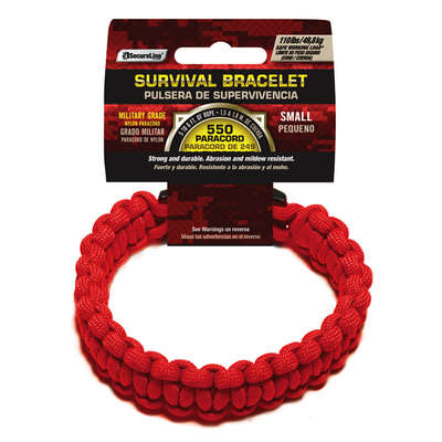 SecureLine 5/32 in. Dia. x 7 ft. L Red Braided Nylon Small Survival Bracelet