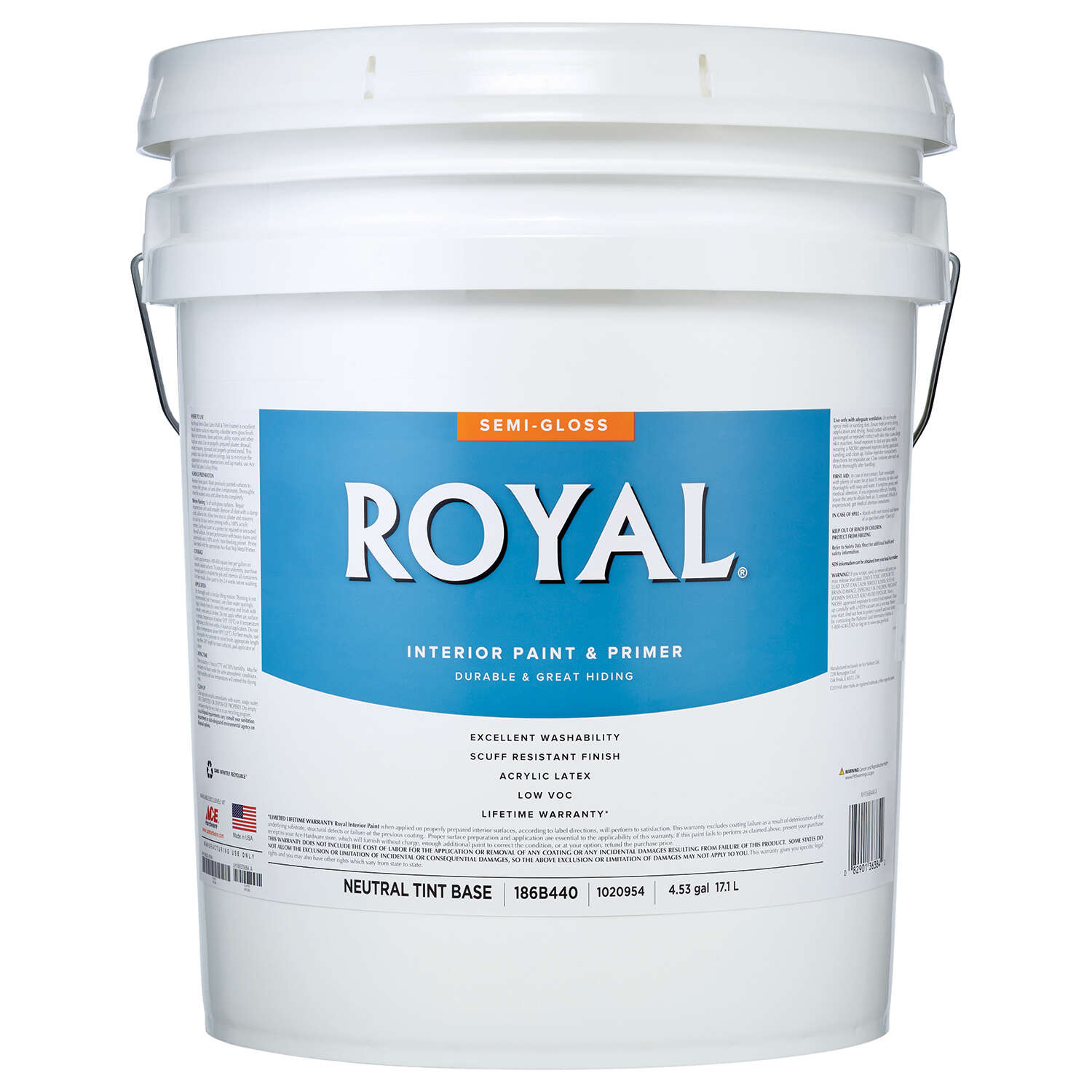 Royal Semi-Gloss Tint Base Neutral Base Paint Interior 5 gal.