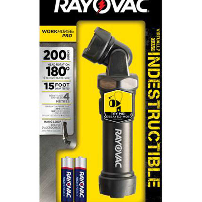 Rayovac  WORKHORSE PRO  200 lumens Black  LED  Flashlight  AA Battery