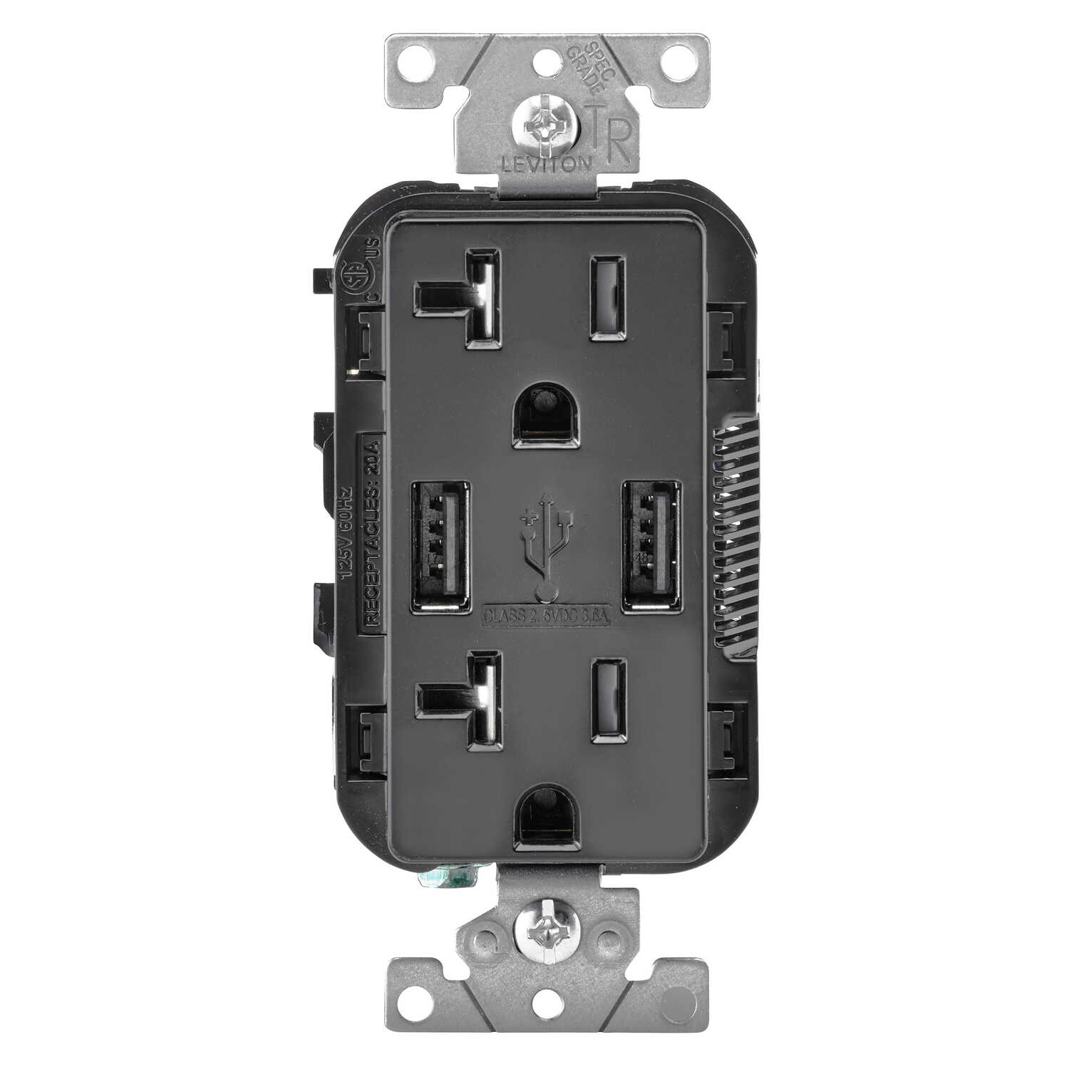 Leviton  Decora  20 amps 125 volt Black  Outlet and USB Charger  5-20R  1 pk
