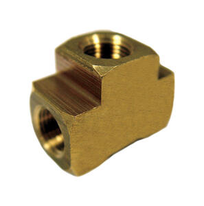 JMF  1/4 in. FPT   x 1/8 in. Dia. FPT  Yellow Brass  Reducing Tee