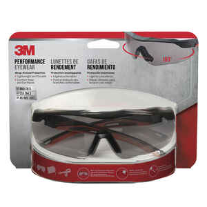 3M  Anti-Fog Safety Glasses  Gray Lens Black/Orange Frame 1 pc.