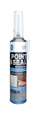 GE  Point and Seal  Clear  Silicone 2  Window and Door  Caulk Sealant  7.25 oz.