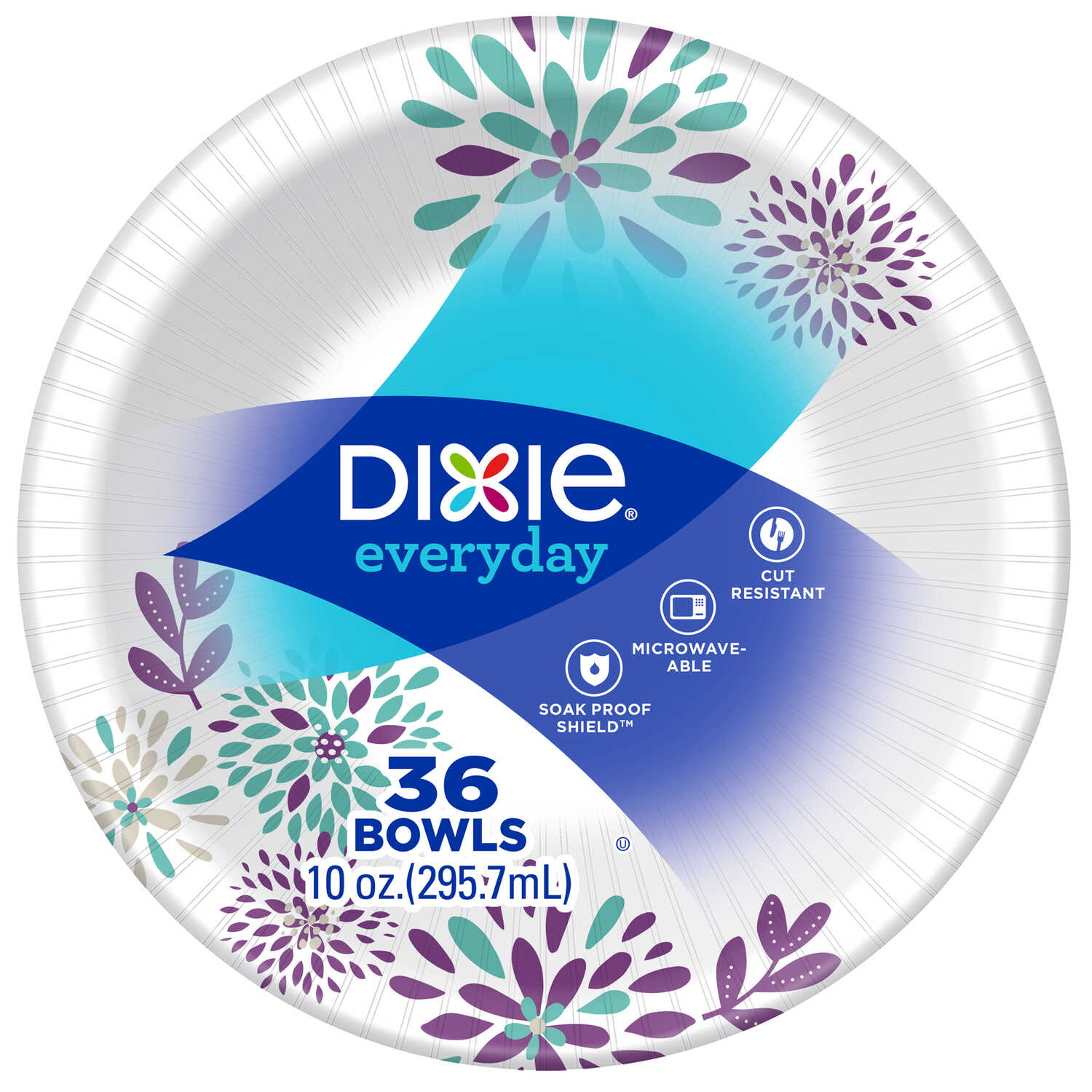Dixie  10  Assorted  Paper  FLOWERS BLOOM  Bowl  9-1/4 in. Dia. 36 pk