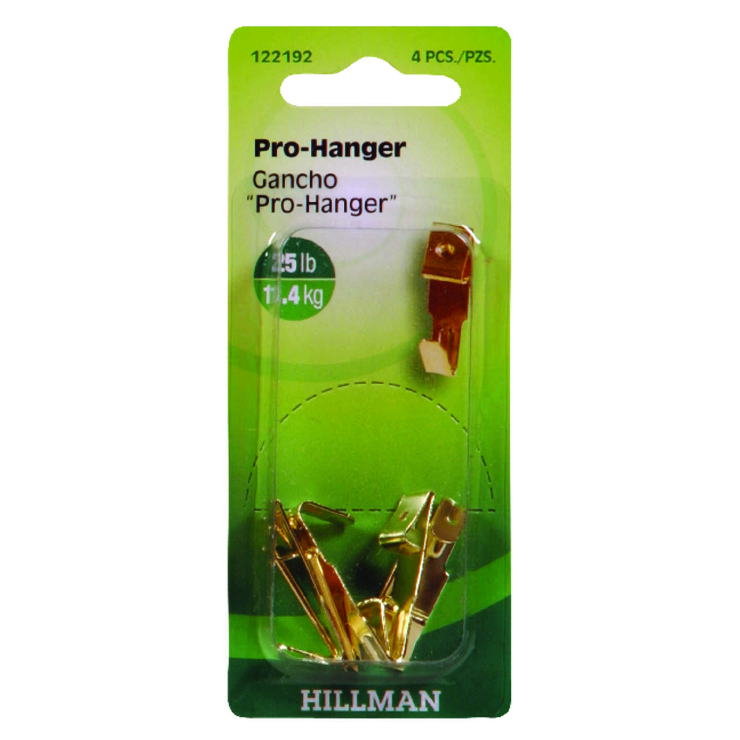 HILLMAN  AnchorWire  Brass-Plated  Gold  Brass  Picture Hanger  Professional  4 pk 25 lb.