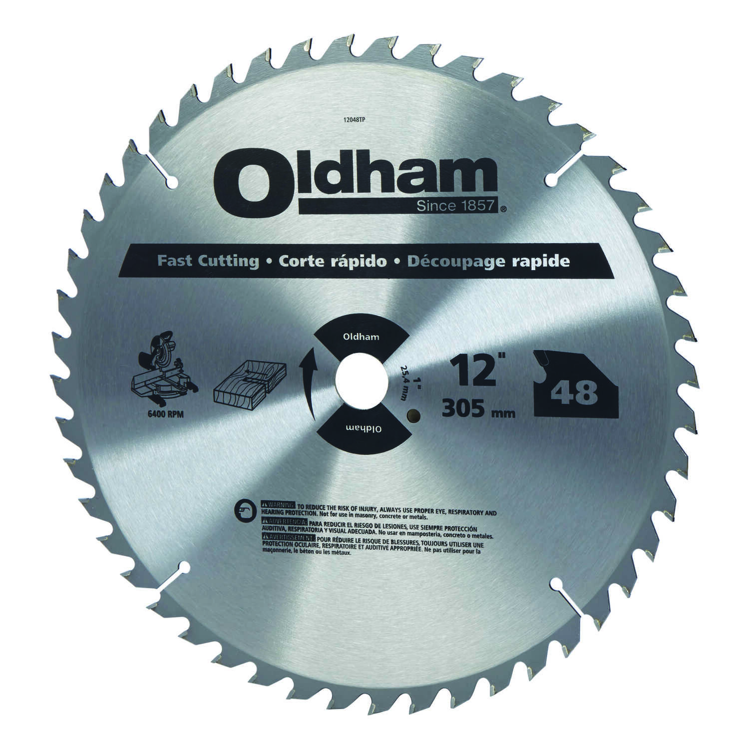 Oldham  12 in. Dia. x 1 in.  Carbide Tipped  Circular Saw Blade  48 teeth 1 pk