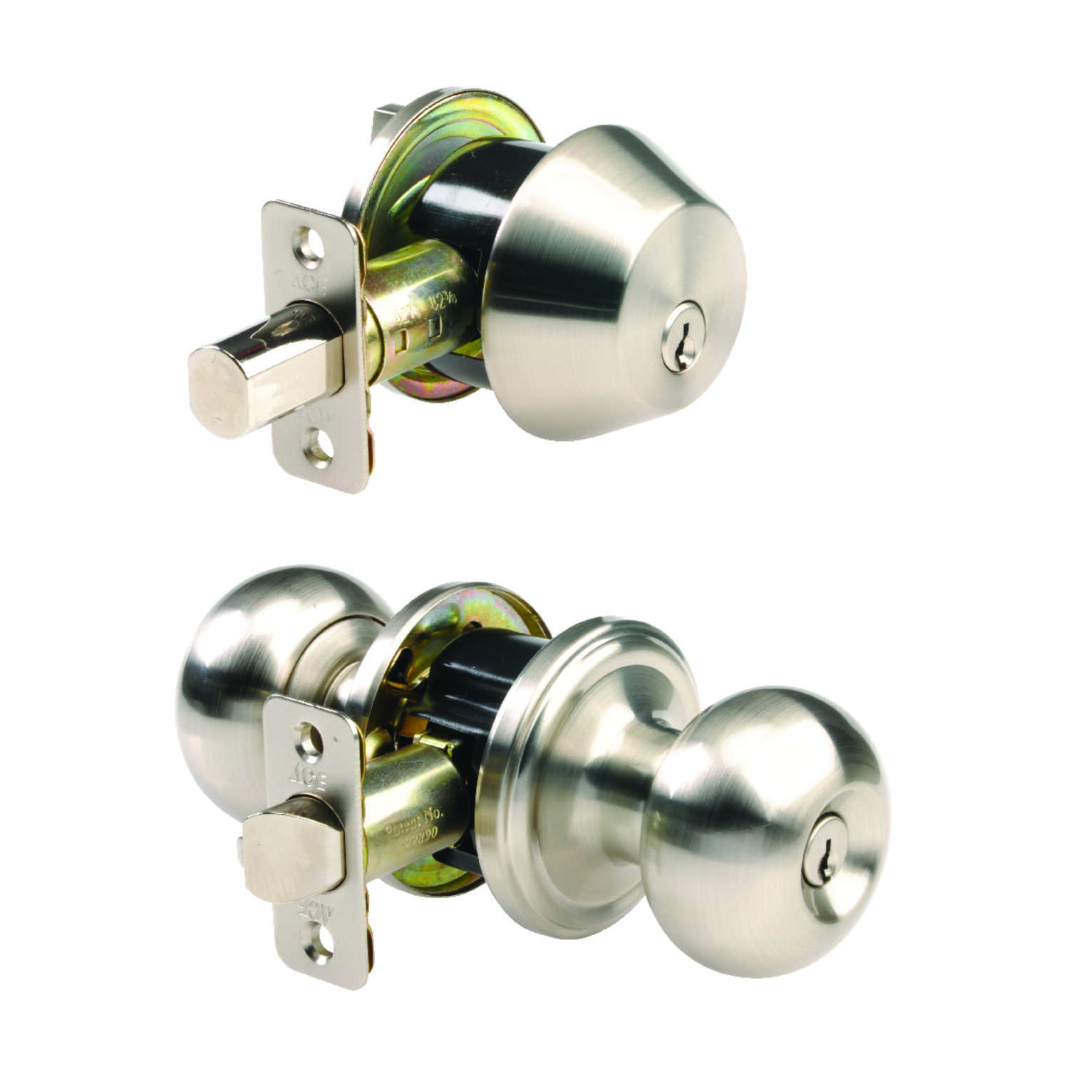 Ace  Colonial  Satin Nickel  Steel  Knob and Deadbolt Set  ANSI Grade 2  1-3/4 in.