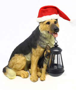 Alpine  Shepard Dog with Puppy and Lantern  Christmas Decoration  Resin  1 each Assorted