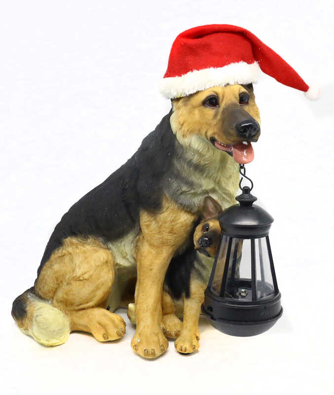 Alpine  Shepard Dog with Puppy and Lantern  Christmas Decoration  Assorted  Resin  1 pk