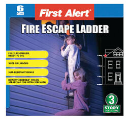 First Alert Three-Story 24 ft. H x 4.5 in. W Steel Fire Escape Ladder 375 lb.