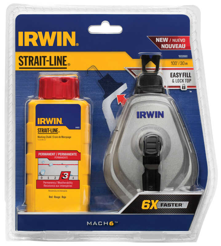 Irwin  Mach6  Braided  Chalk and Reel Set  Blue  100 ft.