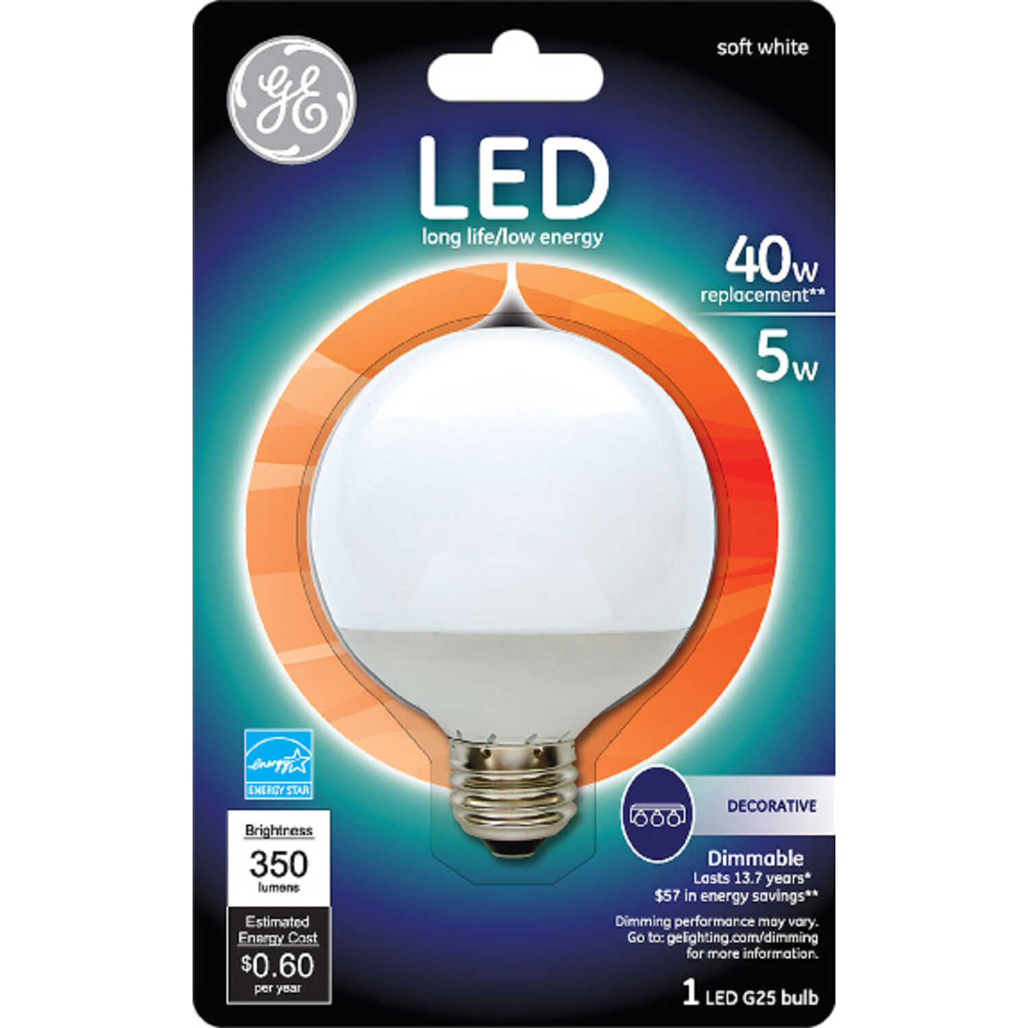 GE Lighting  5 watts G25  LED Bulb  350 lumens Soft White  40 Watt Equivalence Globe