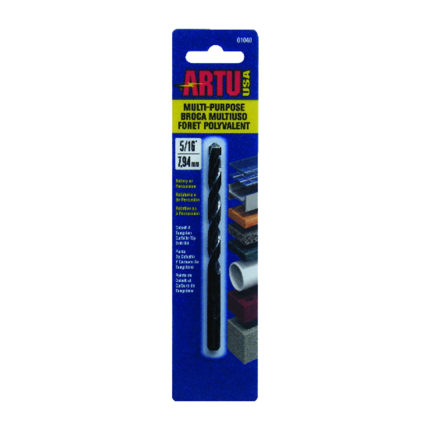 ARTU  5/16 in. Dia. x 4-1/2 in. L Tungsten Carbide Tipped  General Purpose Drill Bit  Round Shank  1