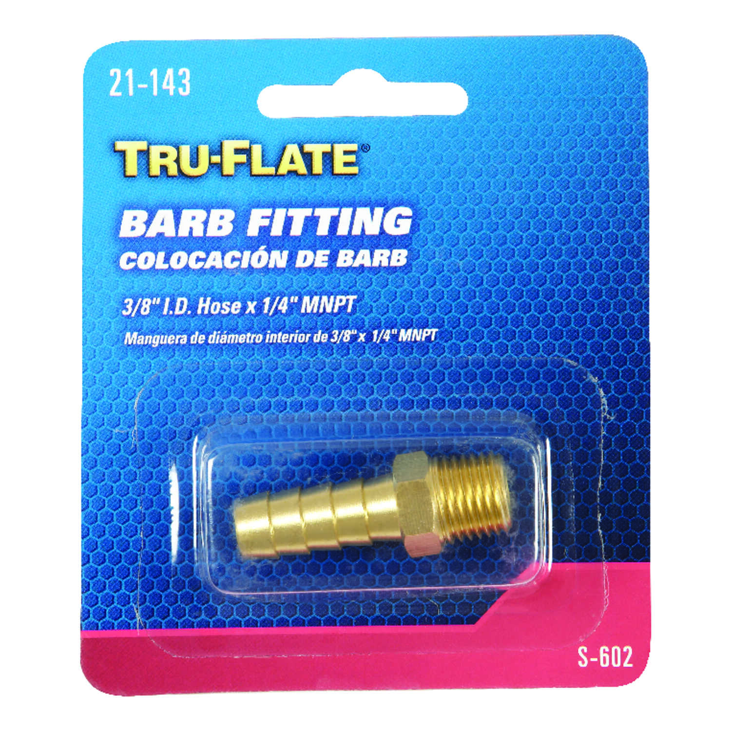 Tru-Flate  Brass  Barb Hose Fitting  3/8 in. Male  1 pc.
