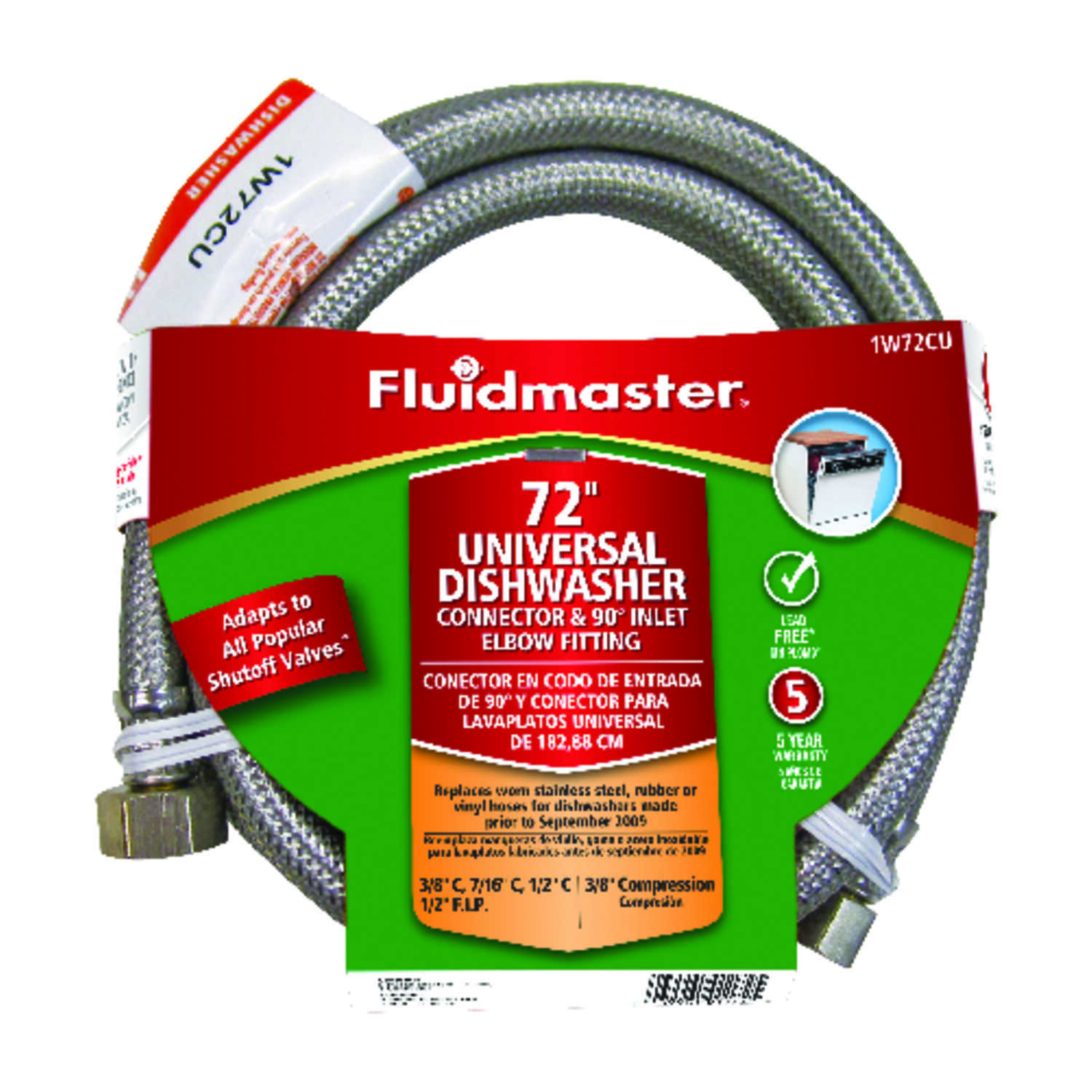 Fluidmaster  Universal  3/8  Compression  1/2  FIP  Stainless Steel  72 in. L Supply Line