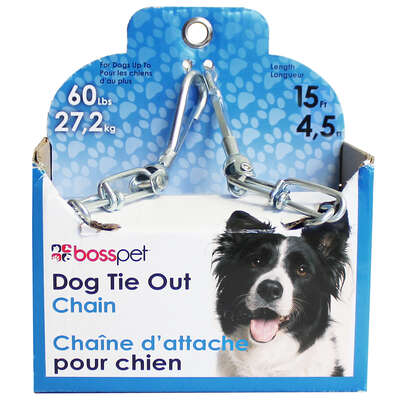 PDQ  Silver  Steel  Dog  Tie Out Chain  Large