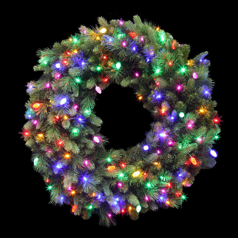 Celebrations  Prelit Wreath  36 in. Dia. Multi