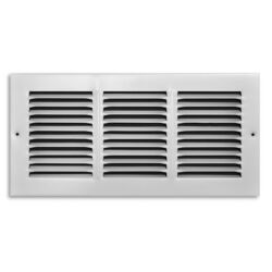 Tru Aire 6 in. H x 14 in. W 1-Way Powder Coat White Steel Return Air Grille