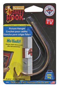 Monkey Hook  Galvanized  Monkey  Steel  20 lb. 4 pk Picture Hanger