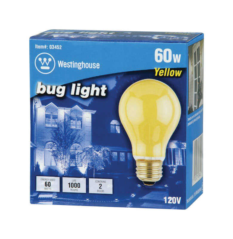 Westinghouse  Bug Light  60 watts A19  A-Line  Incandescent Bulb  E26 (Medium)  Yellow  2 pk