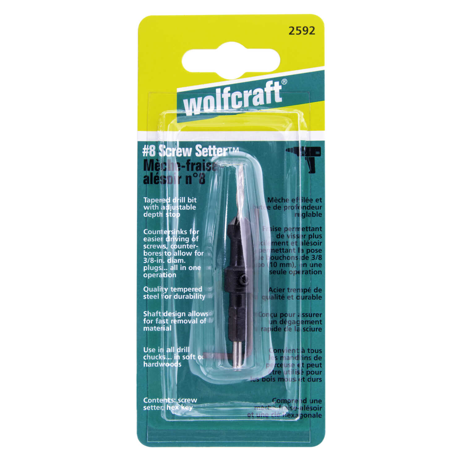 Wolfcraft  3.5 mm Dia. Tapered  Screw Setter  1/4 in. Hex Shank  1 pc. Steel